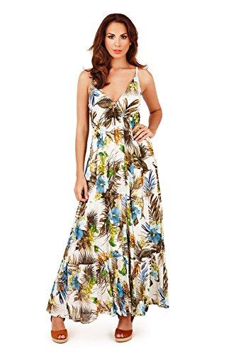 Pistachio Damen Träger Plunge V Ausschnitt Blumenmuster Oder Tropisches Muster Langes Sommer Maxikleid Blau - Tropisch