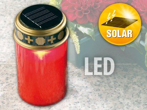 PEARL Solar Grableuchte: Solar-LED-Grablicht mit Dämmerungssensor (Grabkerzen)