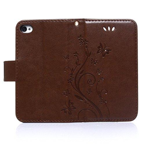 iPhone 5s Coque, LANDEE Ultra-mince PU Cuir Etui Portefeuille pour iPhone SE / 5S / 5 Housse Case (5S-P-0403) 5S-P-0408