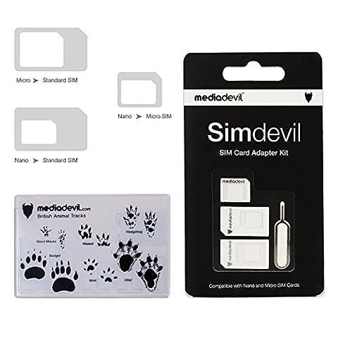 Kit d'adaptateur de carte SIM 3-en-1 Simdevil de MediaDevil (Nano