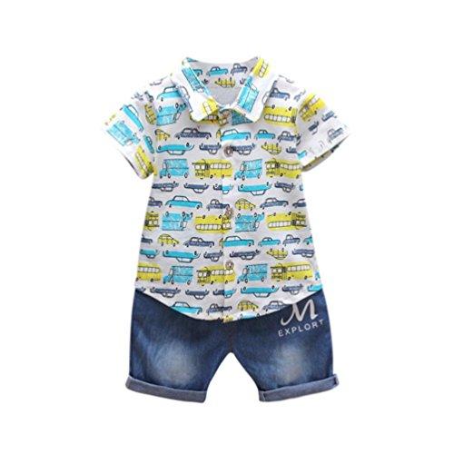 Longra Babykleidung für Jungen Kurzarm Hemd Bluse T-shirt Tops und Denim Hosen Jeans shorts Baby Strandmode Sommer Auto Gemustert Outfits Kleidung Sets (Blue, 90CM 18Monate)