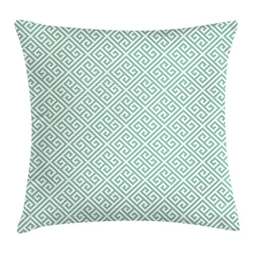 Grecian Green Mesh (ZKHTO Greek Key Throw Pillow Cushion Cover, Pastel Green and White Symmetrical Motifs Inspired by Grecian Culture, Decorative Square Accent Pillow Case, 18 X 18 inches, Pistachio Green White)