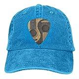 Alte und abgenutzte Westerngitarren Vintage Jeans Baseball Cap Klassische Baumwolle Papa Hut Verstellbare Plain Cap Einheitsgröße Königsblau