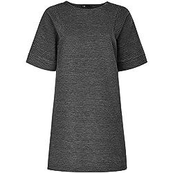 oodji Ultra Damen Lässiges Geripptes Kleid, Grau, DE 34 / EU 36 / XS