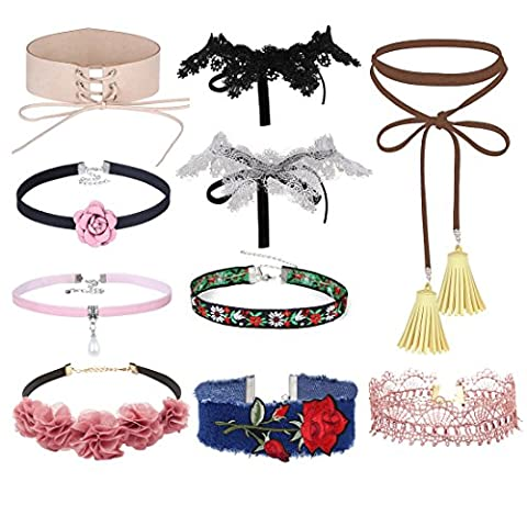 Tpocean 10pcs Gothic Punk Lace-up Choker Pink Flower Velvet Choker With Pearl Pendant Tie Tassel Necklace Set Embroidery Rose Pattern Choker Necklace For 90s