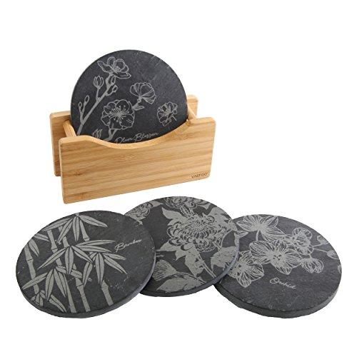 vastigo Kreis Shaped Untersetzer aus Schiefer in Halterung aus Bambus W/Flower Designs von Bambus, Chrysanthemum, Plum Blossom, und Orchidee -