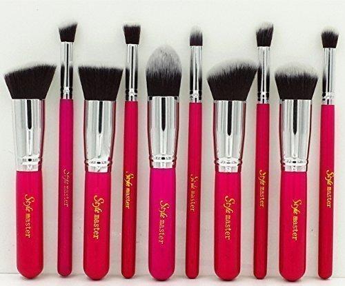 Sunnicy Kit de 10 Pinceaux Maquillage Professionnel Roses Blush Fondation Pinceau Poudre Fond de teint Anti-cerne Kit Pinceaux avec sac