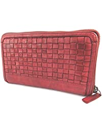 Gianni Conti N6086 - Compagnon zippé/pochette cuir rouge - 18.5x11x2.5 cm
