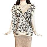 Inselfeld Damen Strick Pullunder V-Ausschnitt Ärmellos Leopardenmuster Beige Sweater Tank Gestrickte Top Weste Camisole Locker Freizeit für Herbst Frühling Winter