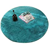 Dimart Forma Redondo Solido Sala Dormitorio Alfombra Alfombra para Ninos Juego Yoga(azul)