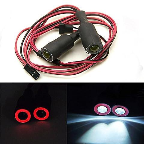 13mm 2Leds Engel Eyes & Demon Eyes LED Scheinwerfer Rücklicht für 1/10 RC Auto (Rot + Weiß)