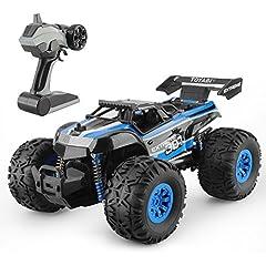 Idea Regalo - GizmoVine Macchine telecomandate 1/18 Monster Truck Oversize Pneumatici 2.4Ghz Macchina Radiocomandata Per Bambini (Blu)