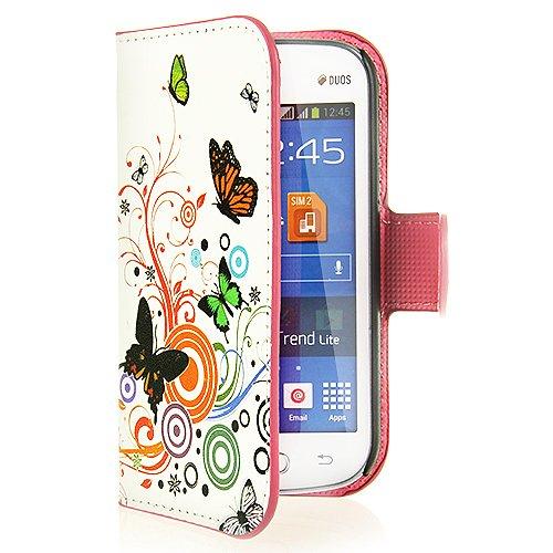 BYD - Side Offene Tasche Flip Case Hülle Brieftasche Seitenkoffer Tasche Hülle Rückseite Schale für Samsung Galaxy Fresh (GT-S7390/Trend Lite/S7392 Duos) with Stand-Funktion und Card Slots White Case mit bunten Schmetterling