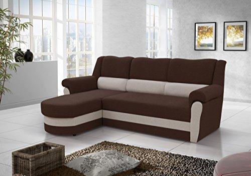 kleines Ecksofa Sofa Eckcouch Couch mit Schlaffunktion und Bettkasten Ottomane L-Form Schlafsofa Bettsofa Polstergarnitur CANNES (Braun + Beige (feiner...
