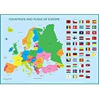 Wisdom Learning Europe & Flags Map - Childrens Wall Chart Educational A3 (30cm x 42cm) European Childs Poster EU Art Print WallChart