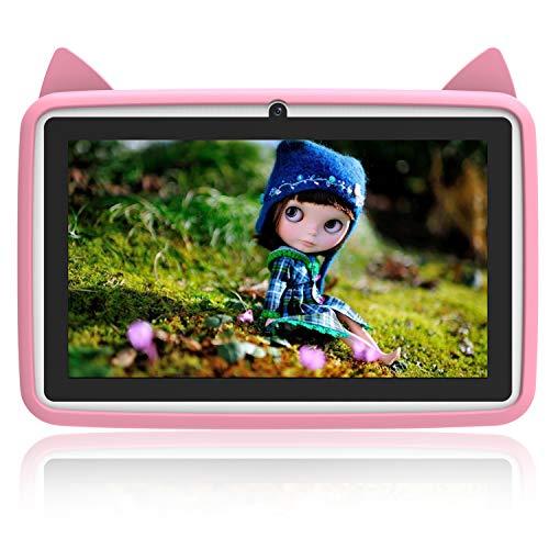 Tablet Para Niños 7.0 Pulgadas IPS/HD - 2GB de RAM 32GB de Memoria Interna,Dual Cámara Batería de 4800mAh,Android 6.0 Tablet PC Procesador de Quad-core,Mediapad WIFI Bluetooth (rosa brillante)