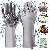 Gifort Guanti in Silicone,Dishwashing Gloves, Magico Guanti per Lavapiatti con Lavaggio Scrubber Spazzola per la Pulizia Riutilizzabile Resistente al Calore per Lavare i Piatti, Pulire la Cucina
