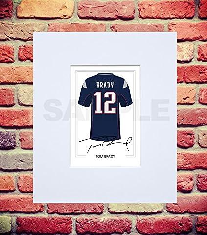 Montiert Tom Brady New England Patriots signierte 25,4x 20,3cm Passepartout mit gedrucktem Autogramm Foto Print Foto handsigniert Poster Jersey Shirt Geschenk Xmas Weihnachten Geburtstag Kuriositäten