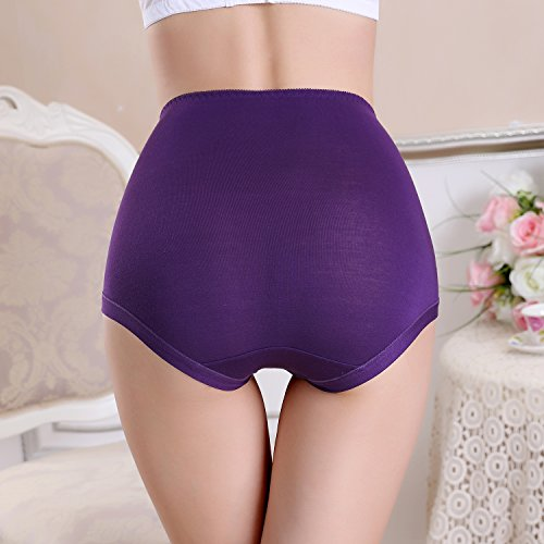 FZmix Women'S Briefs Underwear Modal Abdomen Panties Multicolor Classic High Waist Lady'S Underwear Girl Lingerie Underpants Purple