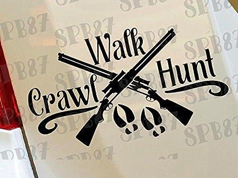 Pistolet à ramper Walk Hunt Canard Cerf Hunter Bow Funny voiture pare-chocs fenêtre Funny en vinyle Van pour ordinateur portable Love Heart Decor Home Live Stickers Funny autocollant mural en moto