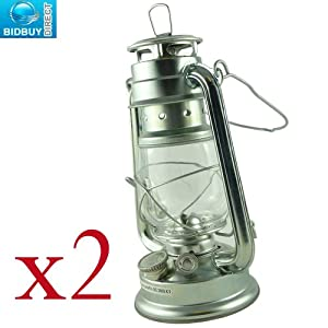 """10"""" Silver Hurricane Lamp - Traditional Storm Lantern - Windproof Glass Frame - Long Lasting Emergency Light Solution - Fueled By Smokeless Paraffin Oil, Kerosene Or Lamp Oil by Bid Buy Direct"""