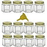 Viva Haushaltswaren GG1060047/12/X - 12 mini barattoli da 47 ml ideali per confetture, marmellate, gelatine, pesto, senape e come regalo per gli ospiti, coperchio dorato e imbuto inclusi