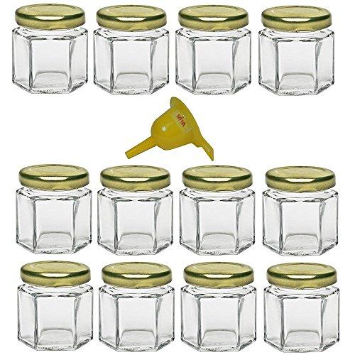 Viva Haushaltswaren – 12 x Mini Einmachglas 47 ml mit goldfarbenem Deckel, sechseckige Glasdosen als Marmeladengläser, Gewürzdosen, Gastgeschenk etc. verwendbar (inkl. Trichter Ø 12,3 cm)