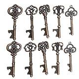 Awtlife, 50 Schlüssel-Flaschenöffner im Vintage-Stil mit Grußtasche für Hochzeitsgeschenke, 5 verschiedene Stile - 4
