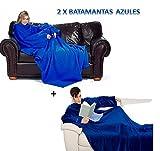 2x Batamantas manta para sofa con mangas y con bolsillo │ Pijama Bata manta Azul ®