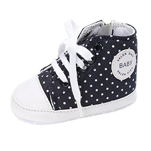 kingko® Baby Schuh Jungen Mädchen neugeborene Krippe weiche alleinige Schuh Turnschuhe Schwarz