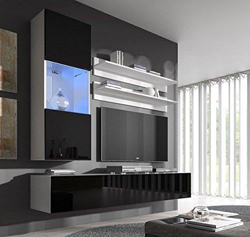 Muebles bonitos mobile soggiorno – parete da soggiorno moderno sospeso modello nora h3 bianco nero con led – larghezza totale: 160cm x altezza minima: 190cm x profondità maxima: 40 cm