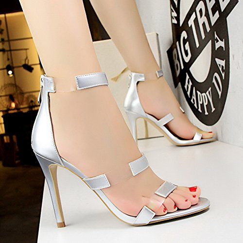 LGK&FA Un Simple Bouton Percé Orteil DUn Amende Rome Tous-Match Female High-Heeled Sandals 37 Silver