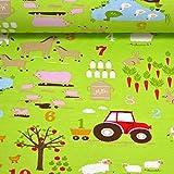 MAGAM-Stoffe Bauernhof grün Jersey Stoff Oeko-Tex