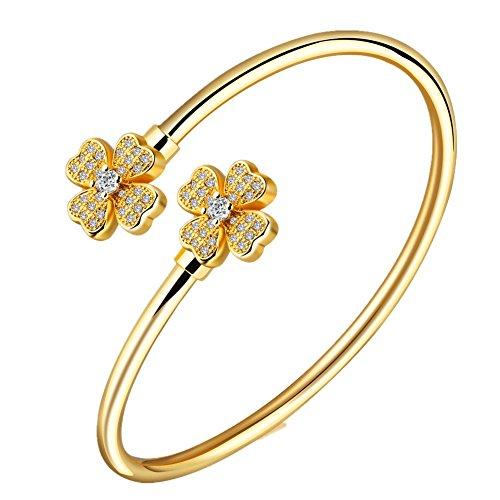 fjyouria Damen vergoldet Kristall Zirkonia Armreif Armband beide Seiten Ende mit vier Clover Blumen (Billig Krankenschwestern Kostüme)