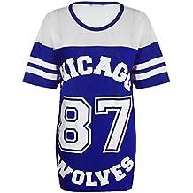 Camiseta Top para mujer, Chicago 87Wolves, largo extragrande, Varsity