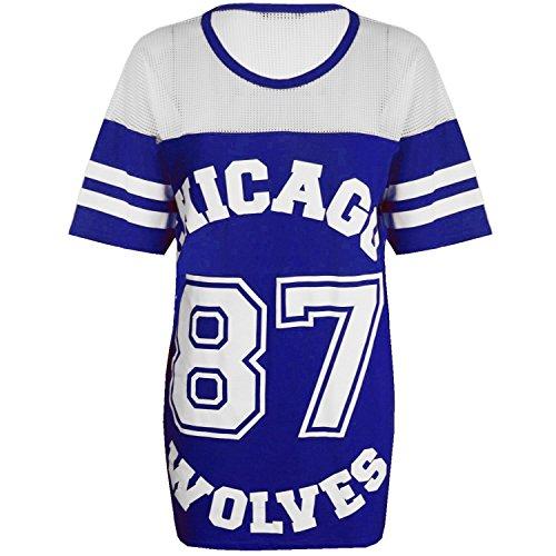 CHICAGO 87 WOLVES LADIES MESH BASEBALL LANGARM SHIRT TOP ÜBERGRÖSSE BAGGY VARSITY, Blau, S/M (UK 8-10)