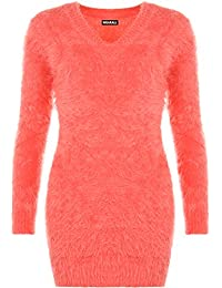 WearAll Women's Stretch Bodycon V Neck Fluffy Long Sleeve Top Sweater Ladies Jumper 8-14