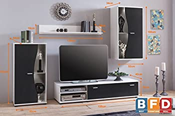 Modern Black Living Room Furniture Set Tv Unit Wall Mounted Cabinet Cupboar 1