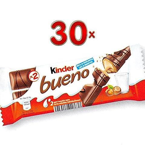 Kinder Bueno lait noisettes 30 x 50g Packung (Kinder Bueno-Riegel mit Milch-Haselnuss-Creme)