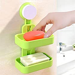 istore Double Layer Soap Box Holder With Suction Cup