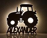 """Schlummerlicht / Nachtlicht """"Traktor"""" personalisiert mit Namen - Optional mit Zugschalter und Lackierung - Neu: 50% dickeres Holz"""
