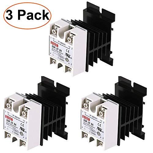 24V-380V 25A SSR-25DA Solid State Relaismodul Relay Module + 3pcs Aluminium Kühlkörper für PID Temperaturregler 3-32V DC-AC Dc-relais