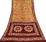 Vintage Batik Printed 100% Seide Indian Gelb Saree Kleid