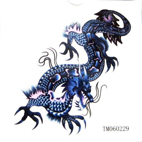 KingHorse tatouage temporaire imperméable à l'eau qui ont l'air réel pour les hommes (Super Blue Dragon) avec un MicroDeal® Piece chiffon de nettoyage marques par ordre