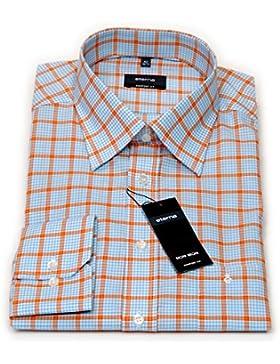 eterna Hemd comfort fit orange / blau / weiß kariert Gr. 39 - 43 / 8538.70.E198 / E20 (39)