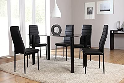 Mondern Lunar Rectangle 4 Seater Seats Chairs Black Glass Dining Table & Chairs