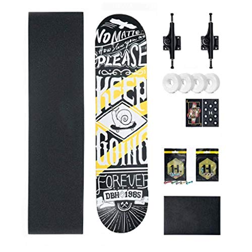 GJF Bilateral Sloping Board Professionelles Skateboard mit Vier Rädern Anfänger Erwachsene Teen Kinder Jungen und Mädchen Straße (Color : E) - Professionelle Skateboard Räder