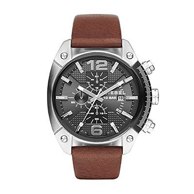 Diesel Advanced - Reloj análogico de cuarzo con correa de cuero para hombre, color marrón/negro
