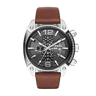 Diesel Advanced – Reloj análogico de cuarzo con correa de cuero para hombre, color marrón/negro