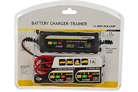 Dunlop Batterieladegerät Trainer Auto Motorrad Pkw Ladegerät Autobatterie 6/12V (Pkw Batterieladegerät)